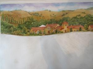 Repair of home portrait, watercolor commission