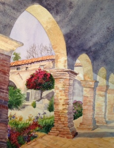 Capistrano Courtyard, watercolor, 12x16