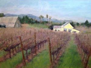 """Yellow House in Vineyard"", pastel 11x14"